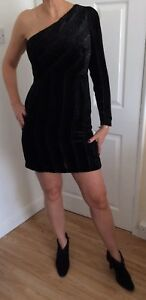 Ladies Black Velvet Assymetric One Sleeve New Sparkly Dress Next Size 12 Occasio