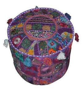 Indian Embroidered Round Floor Cushion Pillow Purple Pouf Cover Home Decorative