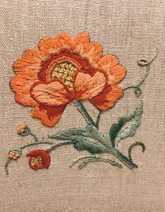 FINISHED COMPLETED CREWEL EMBROIDERY ORANGE FLOWER IN WOOD FRAME