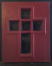 OLD VTG WOOD GLASS ARCHITECTURAL CROSS CHURCH ORIGINAL RED PAINT DOOR INSERT