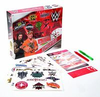 WWE WRESTLING ULTIMATE TEMPORARY TATTOO SET WITH GEL PENS STENCILS + 10 SHEETS