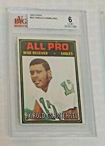 Vintage 1974 Topps NFL Football Rookie 121 Harold Carmichael HOF Eagles BVG 6
