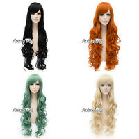 80cm 10 Colors Long Curly Anime Cosplay Heat Resistant Wig Hair + Free Wig Cap