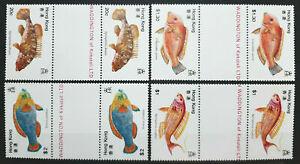 HONG KONG 1981 FISH GUTTER PAIRS SC 369 - 372 MNH OG FRESH