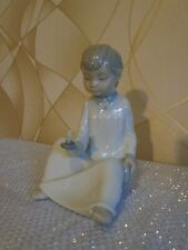 NAO By Lladro Figurine BOY SITTING WITH CANDLE AND BOOK