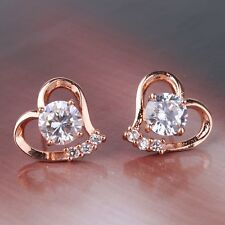 Dough Trough Coeur style diamant clair saphir rose 18K gold filled Lady Boucles d'oreilles clous