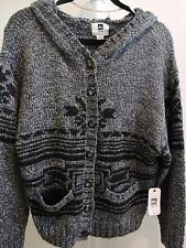 NWT-$128 QSW Quicksilver Wool Blend Black&Grey 7 Button Hooded Cardigan Sz-PS *