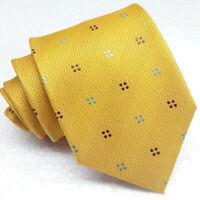 Mustard yellow Necktie 100% silk geometric Made in Italy wedding business ties