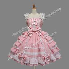 Reenactment Sweet Lolita Gothic Punk Jumper Skirt Pink Frill Dress Clothing New