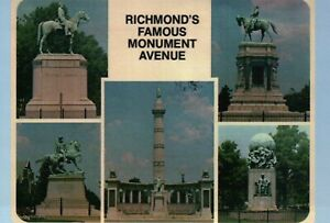 Robert E Lee Jackson etc Monument Avenue Richmond VA Confederate Statue Postcard