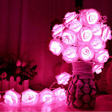Wedding Xmas Pink Fairy 20 LED Rose Flower String Lights Party Home Garden Decor