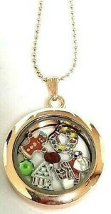 30mm Rose Gold CHRISTMAS Round Magnetic FLOATING LOCKET Stainless Steel Chain