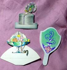 Grt Doll Accessories Miniature Place Cards Powder Box w Girl, Mirror, Compote