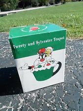 1997 NRFB Warner Brothers LOONY TUNES Christmas TEA POT  (S10) TWEETY SYLVESTER