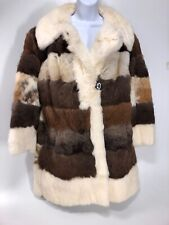 FULL LENGHT 100% REAL FUR COAT BELTED Thigh Length Multicolor Likely Rabbit