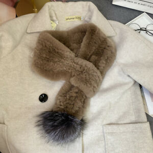 Women Real Rex Rabbit Fur Scarf Winter Warm Neckerchief With Silver Fox Pompom