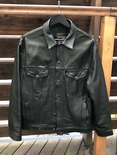RARE LEVIS TRUCKER LEATHER JACKET BLACK AERO MADE IN  ENGLAND LEWIS MEDIUM M L