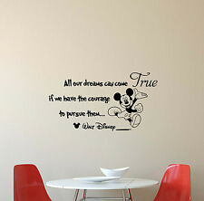 All Our Dreams Disney Wall Decal Mickey Mouse Vinyl Sticker Poster Decor Art 408