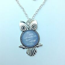"Owl Pendant in Grey Glass ""Be Wise..and make my heart rejoice"" JW.ORG"