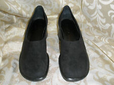 BLACK SUEDE GENUINE LEATHER  FRANCO SARTO CLOGS MULES LOAFERS 5.5  5  1/2 M