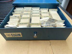 ELGIN WATCH PARTS CABINET 750 COMPLETE BALANCE, BALANCE STAFFS, JEWELS + 905 907