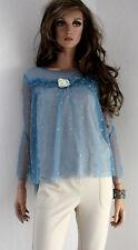 RINASCIMENTO Damen Shirt Netz XS 34 Polyester Baumwolle blau abnehmbare Brosche