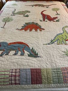 WOW Hand Quilted & Crafted Plaid & Applique Dinosaur Quilt 70x86 twin full #780