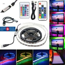 1/4M 5V 5050 RGB LED Strip Light Bar TV Back Lighting Kit + USB 17 Key RF Remote