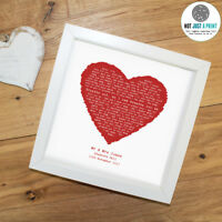 Foo Fighters 'Everlong' Personalised Framed Song Lyrics Heart Print -First Dance