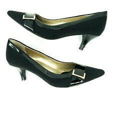 Bandolino Women's Pointed Toe Career Shoes bro & Black Kitten Heels Size 6 Metal