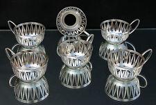 WMF 6 versilberte Teehalter - Jugendstil um 1910 !!! Bienenkorbmarke !!!