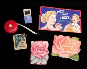 Vintage Needle Books Tape Measure Sew N Stitch Fosters Hosiery Stanley Rose Lot