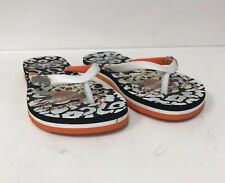 Ed Hardy Kids Size 5 Flip Flops White Orange Black