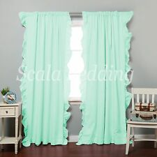 800 TC Side Ruffle Curtains 2-Panel Top Rod Pocket Choose Color & Size