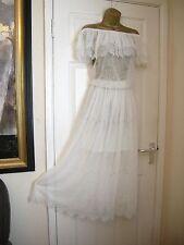 14 ASOS DARCY OFF SHOULDER WHITE MAXI DRESS GYPSY SEMI SHEER WEDDING VINTAGE
