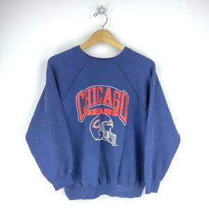 Chicago Bears Vintage Champion Crewneck Sweatshirt Size XL Blue Spell Out Nfl