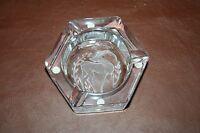 """Vintage Solid Heavy 6"""" Art Glass Ashtray w/ Stag Deer Design - """"Sorres, France"""""""