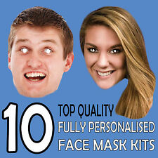 10 PERSONALISED CUSTOM FACE MASK KITS SEND A PICTURE PHOTO AND WE WILL PRINT e