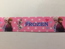 FROZEN On Pink Grosgrain RIBBON 1Mtr X 22mm For Craft Hair Gifts Cakes