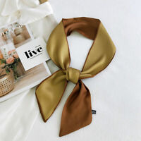 Women Solid Silk Pleated Head Neck Satin Square Scarf DIY Bandana Hair Tie Band