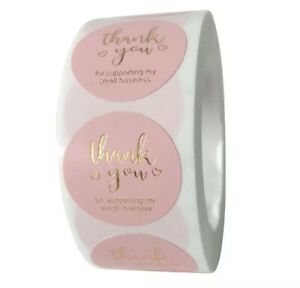 """100 High Quality PVC 1"""" Round Pink Thank You For Supporting My Small Business"""