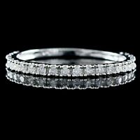 Women's 1/4 CT Round Cut Diamond Solid 14K White Gold Fn Wedding Band Ring