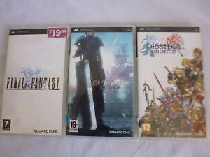 Sony PSP Game Bundle Final Fantasy 1 Crisis Core VII Dissidia + Manual