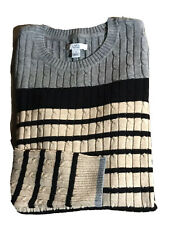Croft & Barrow Womens Sweater Knit Pullover Long Sleeve Gray Black Tan Small