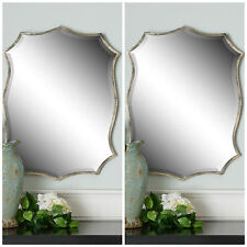 """Two Large New Modern 30"""" Oxidized Nickel Thin Frame Beveled Wall Vanity Mirror"""