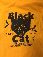 Black Cat Fireworks Yellow T Shirt The Best Size (Large)