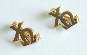 Two Tiny Vintage 14K Chi Omega Fraternity Pins