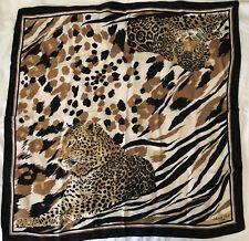 """Anne De Sevil PARIS Large 34"""" Sq Scarf LEOPARD Print BLACK IVORY BEIGE Italy"""