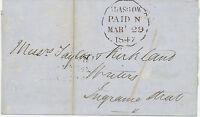 "2457 1847 handstruck ""1"" in red and black/red CDS ""GLASGOW / PAID"" very fine cvr"