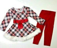 Bonnie Jean Baby Girls Christmas Plaid Shirt/Dress Leggings Set 2T